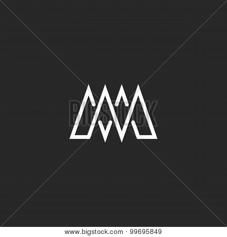 M Letter Monogram Mockup Logo, Intersection Thin Line, Template Emblem For Business Card