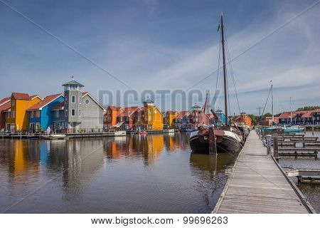 Jetty And Boats At The Reitdiephaven In Groningen