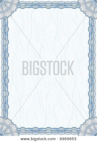 Blank Guilloche Border For Diploma Or Certificate