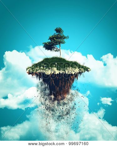 3D render of a floating island exploding up into the sky