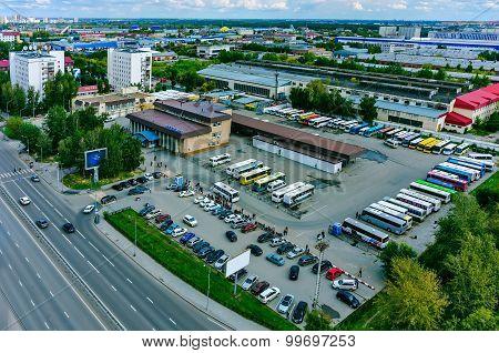 Aerial view onto intercity bus station. Tyumen