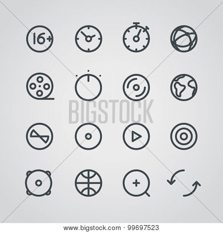 Modern media web icons collection. Round lineart design pictograms