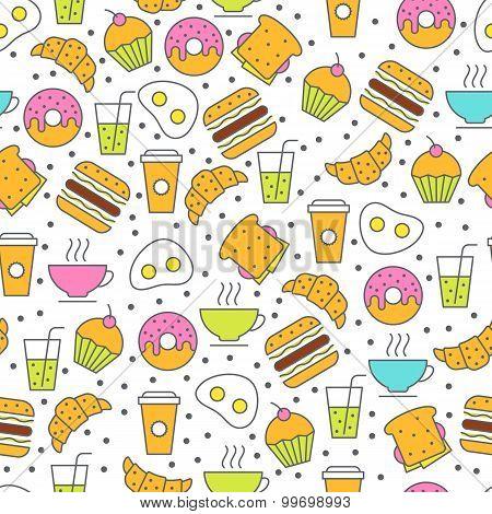 Seamless Vector Food Pattern. Breakfast Flat Illustration Of Tea, Coffee, Juice, Sandwich, Fried Egg
