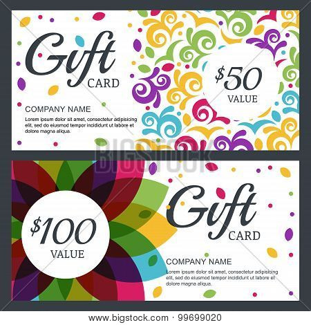 Vector Floral Gift Voucher Or Card Background Template. Decorative Multicolor Abstract Ornament.