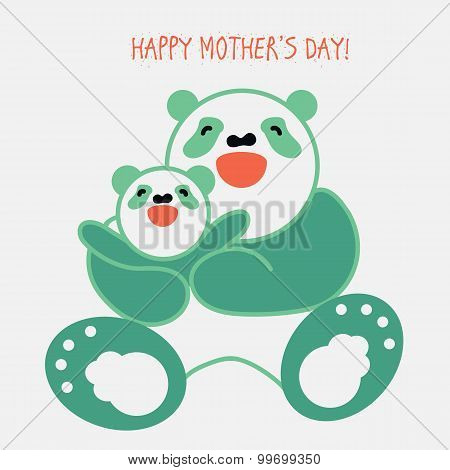 Sticker, Card With Happy Mother And Child Panda