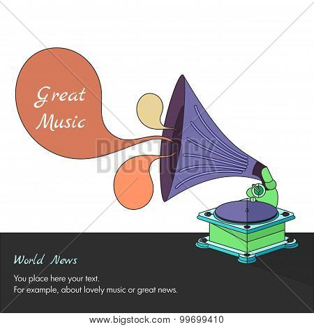 Vector Bright Flat Old Gramophone