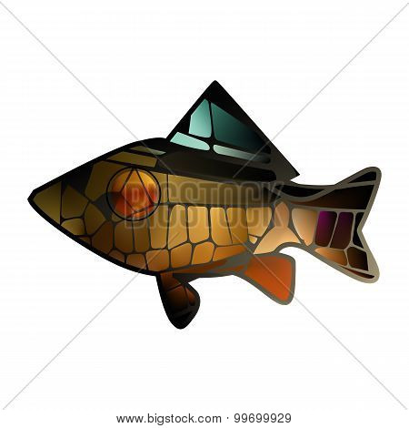 Stained Glass Mosaic  Gold Bright Colorful Marine Fish