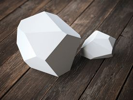 picture of dodecahedron  - Two white polyhedron on the wooden floor - JPG