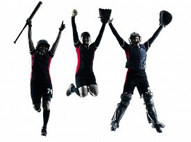 stock photo of softball  - women playing softball players in silhouette isolated on white background - JPG