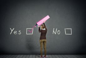 picture of schoolgirl  - young schoolgirl with yes or no choice - JPG