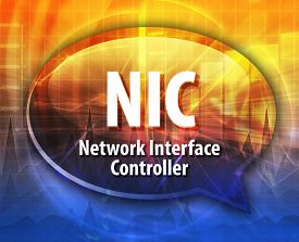 stock photo of nic  - Speech bubble illustration of information technology acronym abbreviation term definition NIC Network Interface Controller - JPG