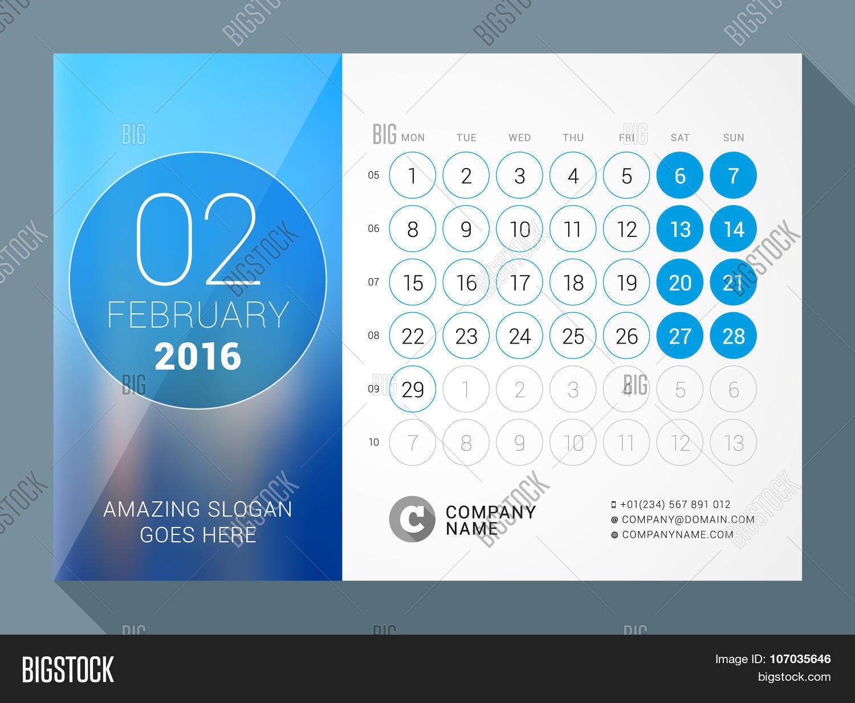 February 2016 Desk Calendar 2016 Vector Amp Photo Bigstock