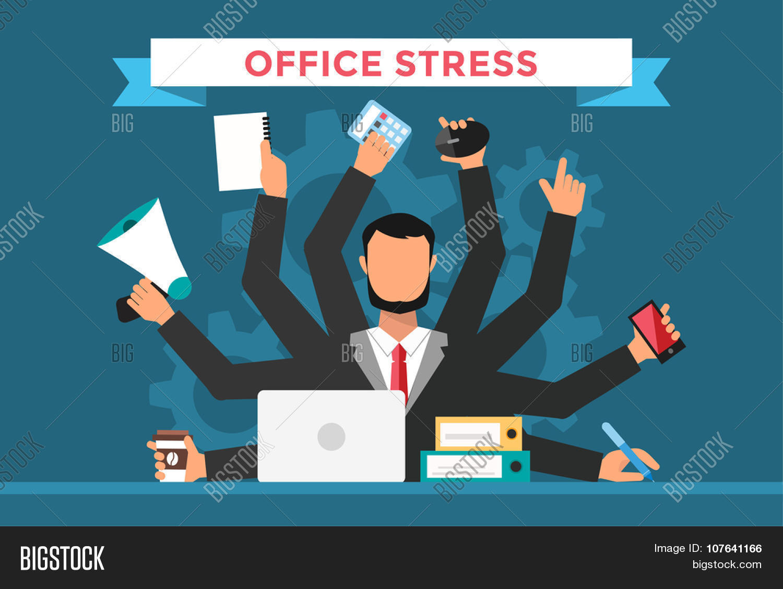 office job stress work vector illustration stress on work office job stress work vector illustration stress on work business man day office