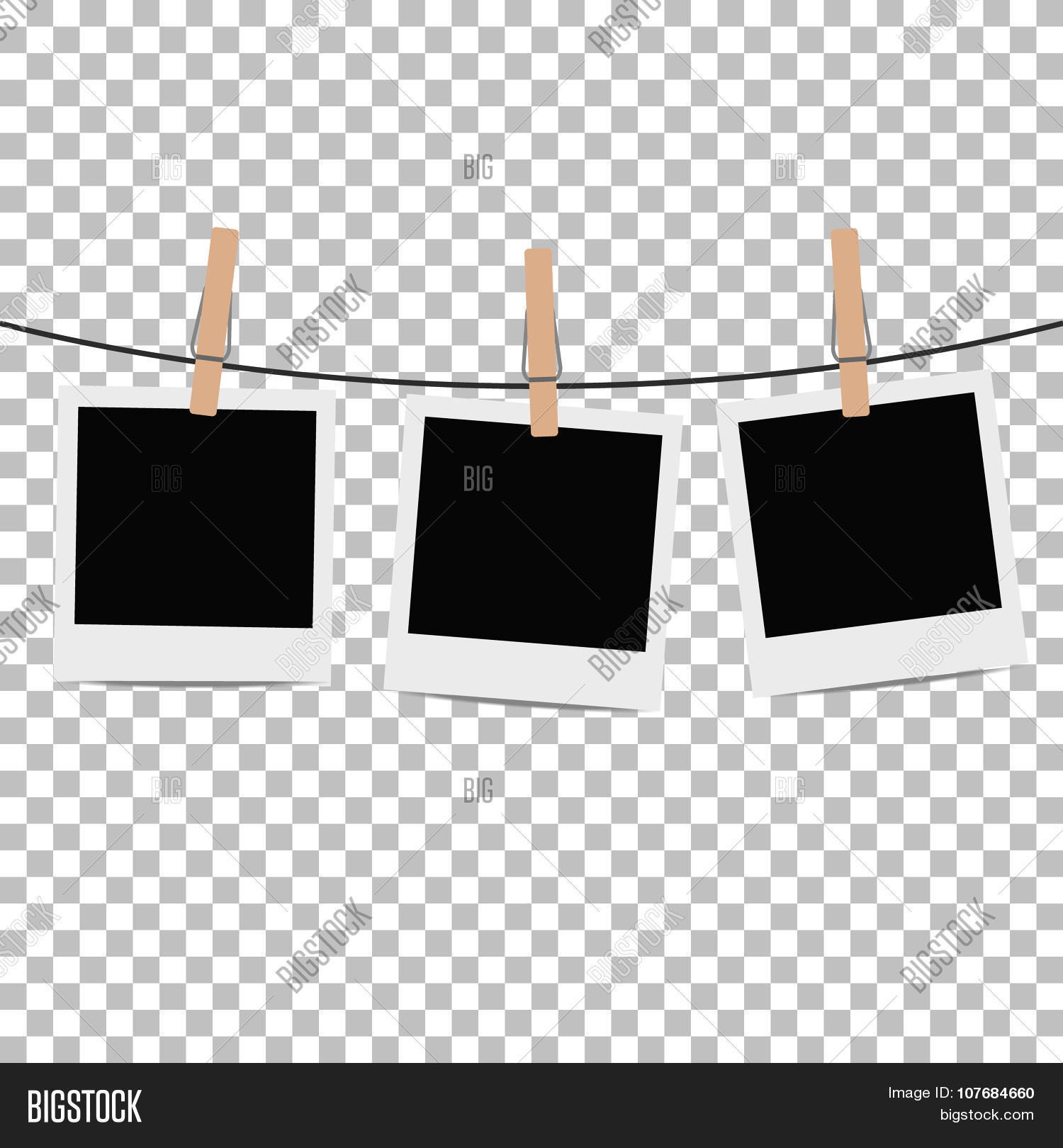 photo frames hung on rope with clothespins on transparent background vector illustration