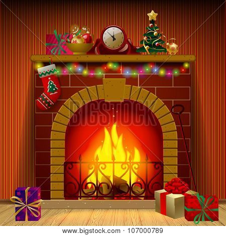 Christmas fireplace in interior with holiday decorations and gifts. Vector illustration