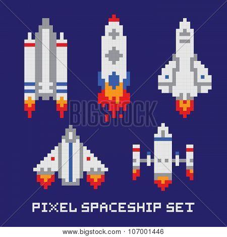 Pixel art spaceship isolated vector set