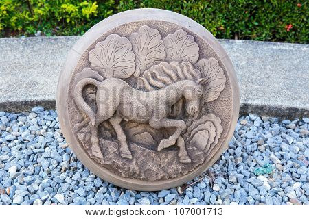 The Year of Horse, Chinese Zodiac Cement Craft at the public park of Thailand.