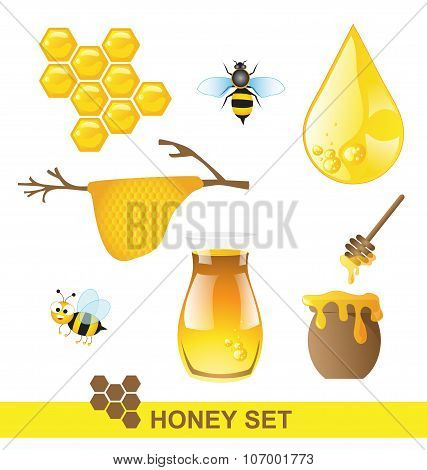 Honey Set On White Background