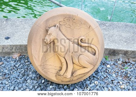 The Year of Dog, Chinese Zodiac Cement Craft at the public park of Thailand.
