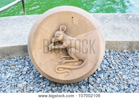 The Year of Rat, Chinese Zodiac Cement Craft at the public park of Thailand.