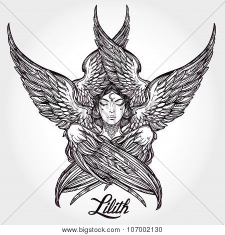Hand drawn fallen angel Lilith partrait.