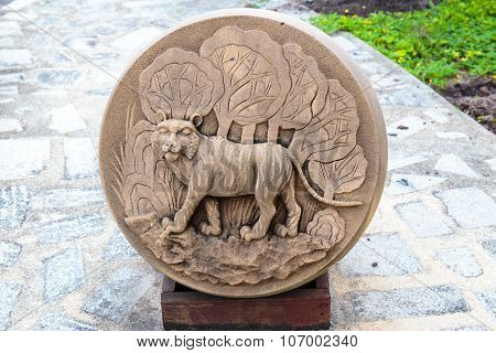 The Year of Tiger, Chinese Zodiac Cement Craft at the public park of Thailand.