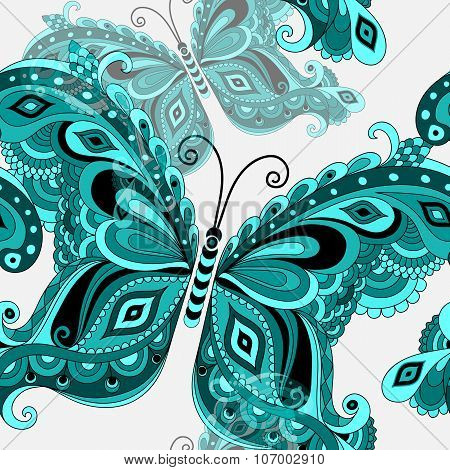 Spring Seamless Pattern  with vintage butterflies