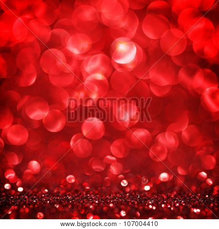 Abstract red shiny glitter bokeh christmas background