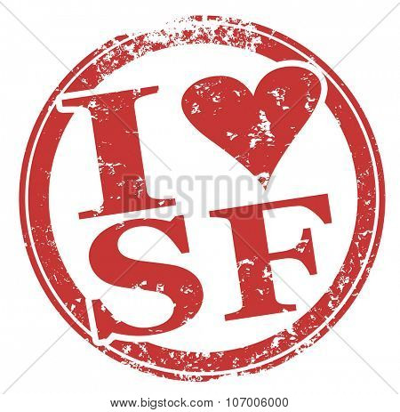 I Love SF heart symbol in red round grunge style stamp to illustrate loving the city of San Francisco in California