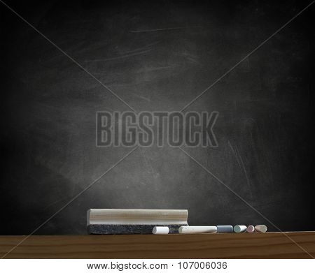 Duster and chalk in front of blackboard
