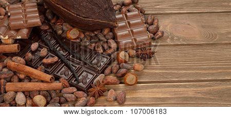 Chocolate, Cocoa Beans And Spices