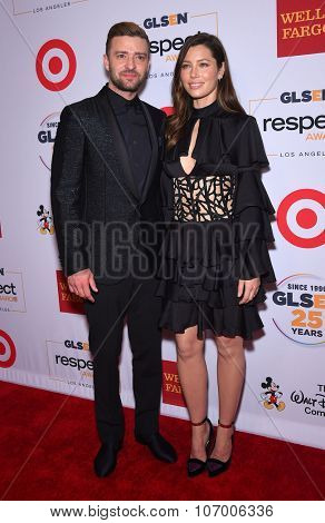 LOS ANGELES - OCT 23:  Justin Timberlake & Jessica Biel arrives to the GLSEN Awards 2015 on October 23, 2015 in Hollywood, CA.