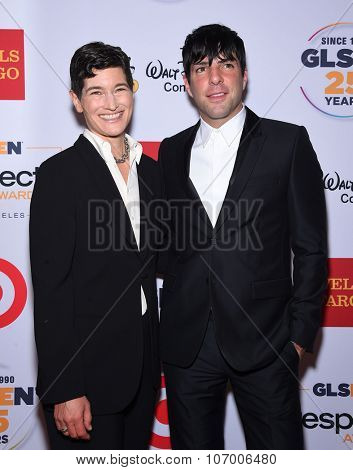 LOS ANGELES - OCT 23:  Eliza Byard & Zachary Quinto arrives to the GLSEN Awards 2015 on October 23, 2015 in Hollywood, CA.