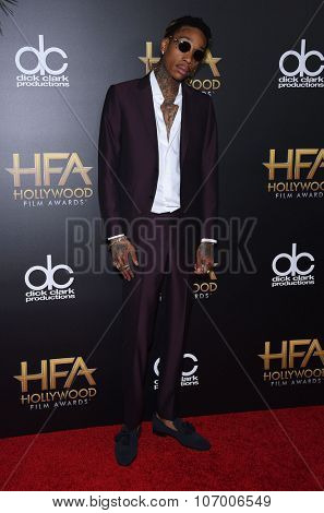 LOS ANGELES - NOV 1:  Wiz Khalifa arrives to the Hollywood Film Awards 2015 on November 1, 2015 in Hollywood, CA.