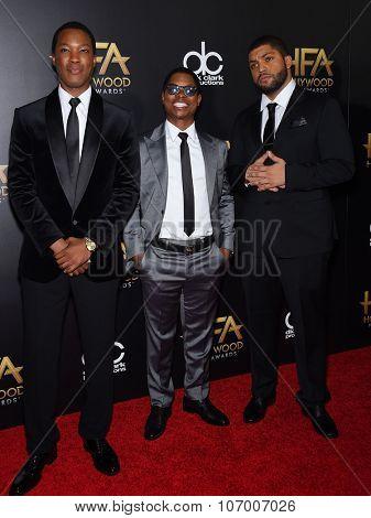 LOS ANGELES - NOV 1:  Corey Hawkins, Jason Mitchell & O'Shea Jackson Jr. arrives to the Hollywood Film Awards 2015 on November 1, 2015 in Hollywood, CA.