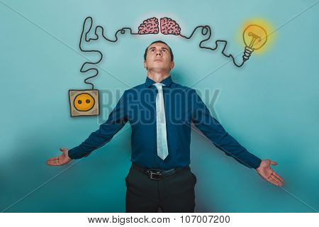 a man in a tie businessman opened his arms brain booster charge