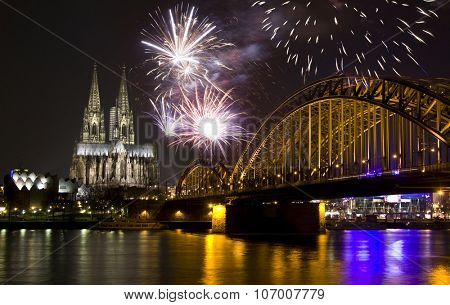 Fireworks at Cologne Cathedral, Cologne, Germany