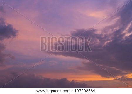 Twilight Sunset Sky With Colorful Cloud Background