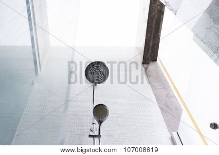 Shower Head In Bathroom, Design Of Home Interior Outdoor Bathroom With Open Roof
