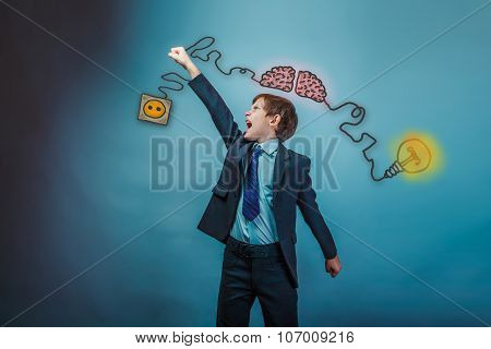 boy businessman raised his hand up and yells call manual initiat