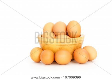 Egg, Chicken Eggs In  A Bowl Isolate