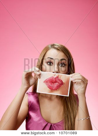 Businesswoman Sending Big Kiss