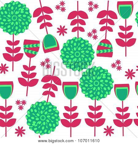 Colorful Floral Seamless Pattern In Red And Green  Colors And Seamless Pattern In Swatch Menu, Vecto