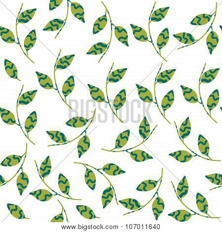 Gentle Simple Seamless Pattern  With Leaf And Seamless Pattern In Swatch Menu, Vector Illustration.