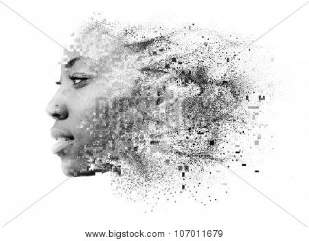Photograph of attractive african american female model combined with pixelated illustration