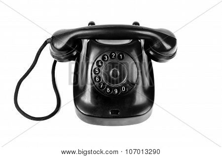 Retro Old Telephone With Rotary Dial Isolated