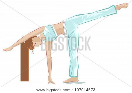 Ardha chandrasana pose. Yoga girl in crescent pose