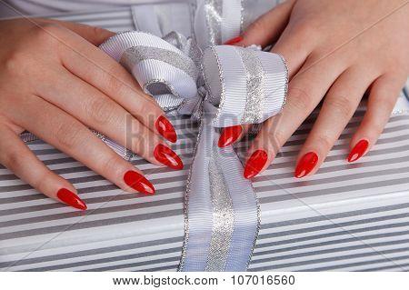 Closeup Of Sexy Fake Red Nails