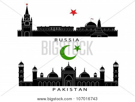 silhouettes of sights of Russia and Pakistan.