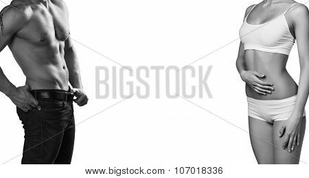 Man and woman's bodies isolated on a white background